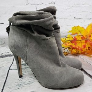 Aldo gray suede heeled booties slouch ankle 8